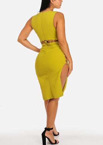 Lime Green Side Slit Gold Rings Dress