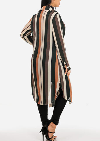 Image of Casual Front Tie Stripe Maxi Cardigan