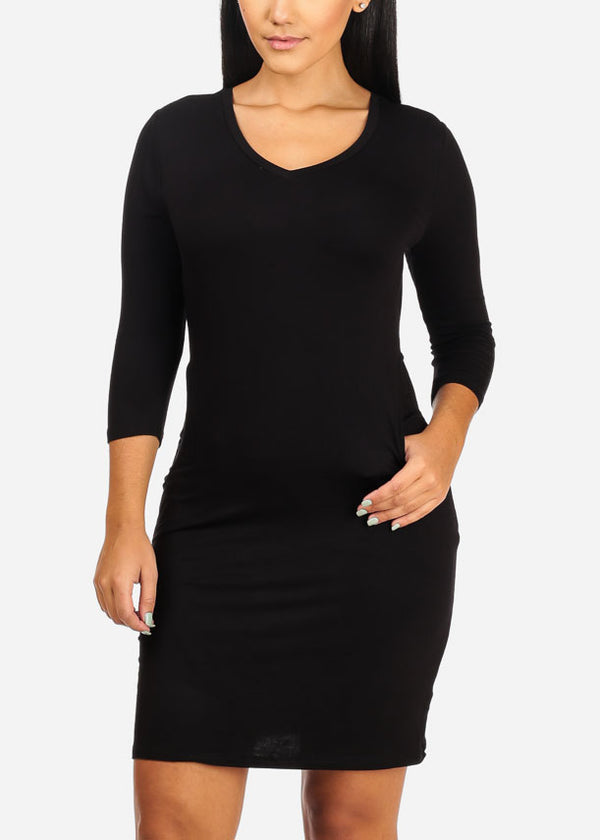 Casual Solid Black Mini Dress