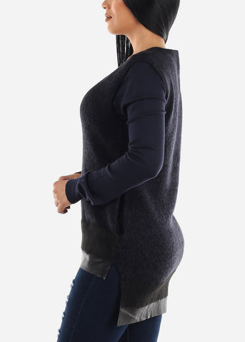 Image of Navy Knit Sleeveless Tunic
