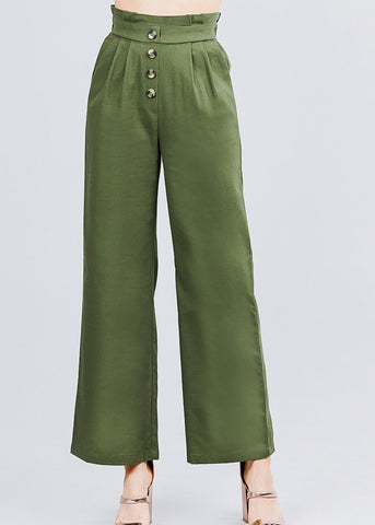 Wide Legged Olive Linen Pants