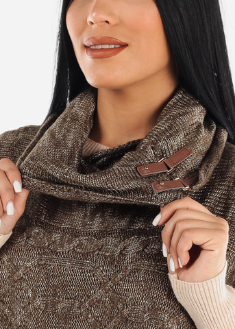 Olive Knitted Poncho Sweater