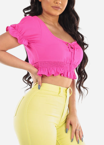 Casual Sexy Summer Lightweight Short Sleeve Hot Pink Crop Top For Summer Vacation Trip Women Ladies Junior