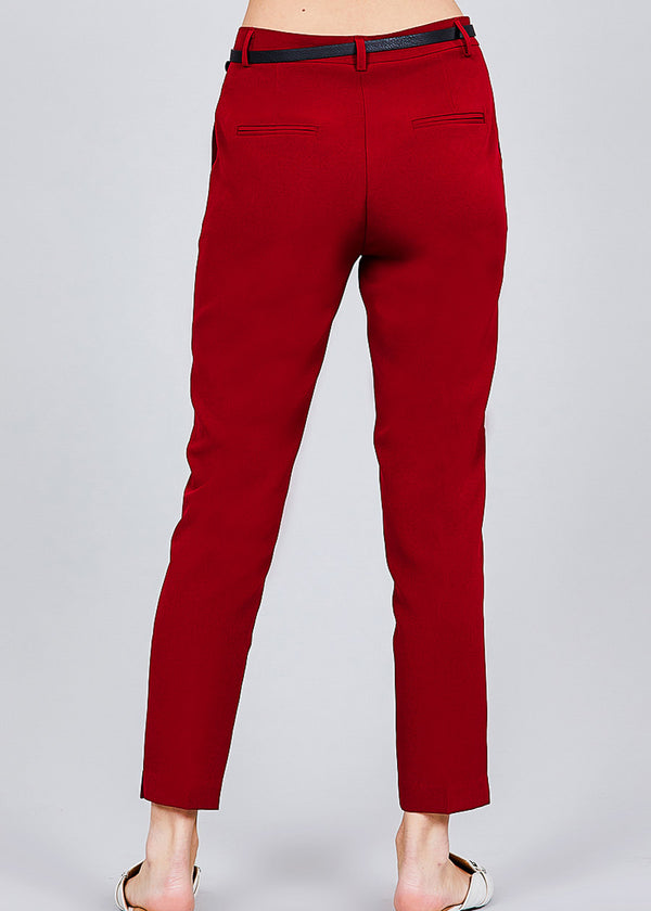Red Woven Dressy Pants