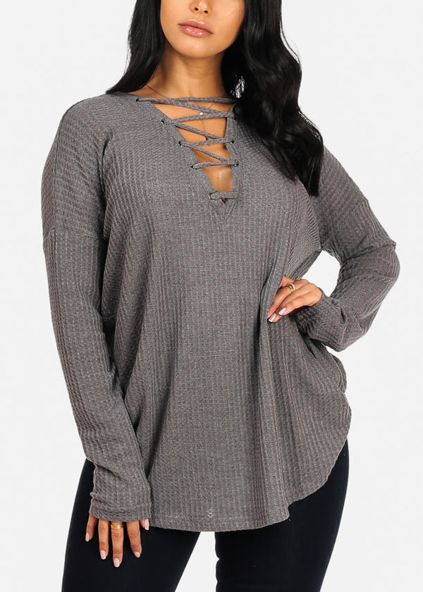 Cozy Charcoal Lace Detail Sweater Top