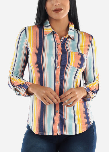 Colorful Stripes Button Up Top