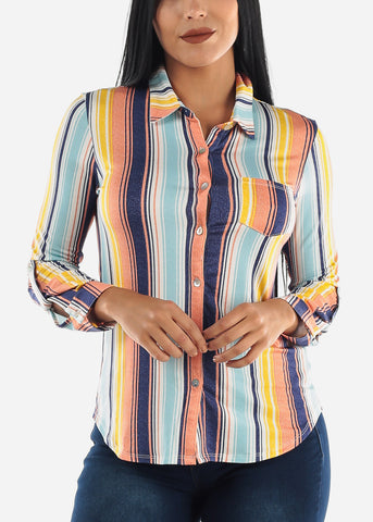 Image of Colorful Stripes Button Up Top