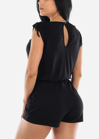 Image of Strappy Neckline Black Romper