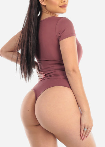 Basic Stretchy Mauve Bodysuit