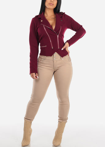 Image of Burgundy Moto Jacket