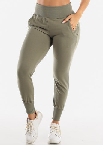 Green High Waist Sweatpants