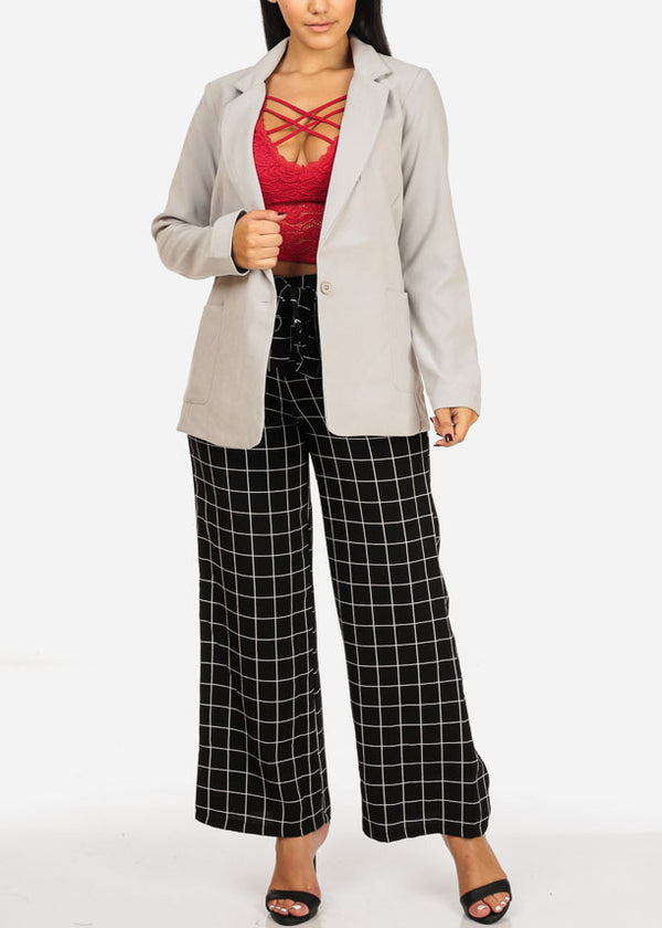 High Rise Black Plaid Print Pants