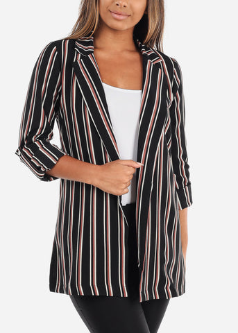 Stylish Black Striped Blazer