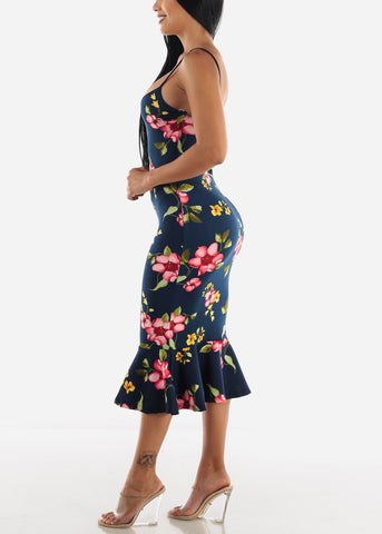 Image of Navy Floral Flounce Dress