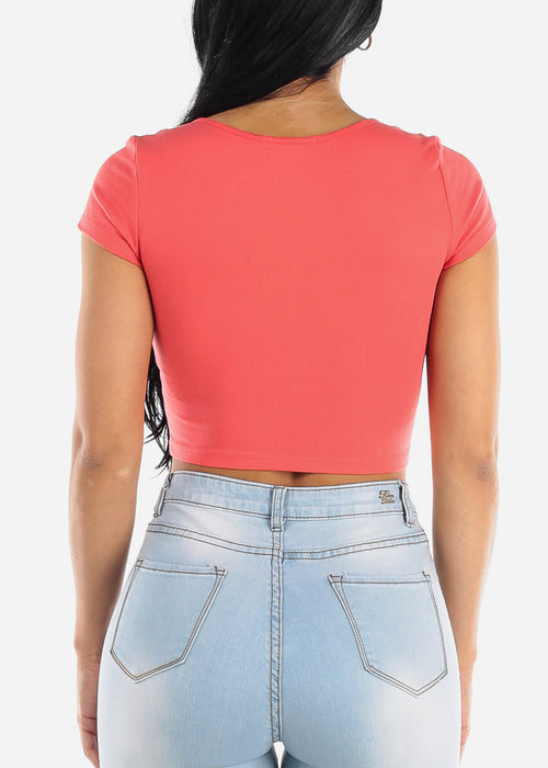 Short Sleeve Basic Coral Crop Top