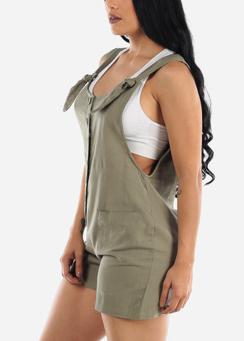 Image of Sage Linen Cotton Button Up Romper