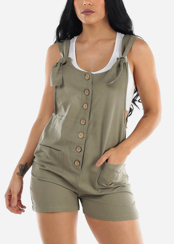 Sage Linen Cotton Button Up Romper