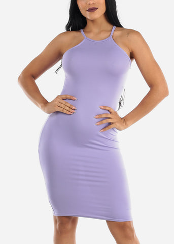 Image of Sleeveless Casual Lilac Bodycon Dress