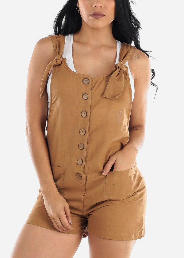 Light Brown Linen Cotton Button Up Romper