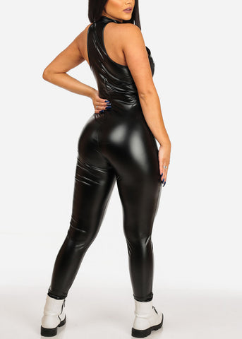 Women's Junior Ladies Going Out Club Wear Sexy Faux Leather Pleather Halter Neckline Zip Up Black Jumper