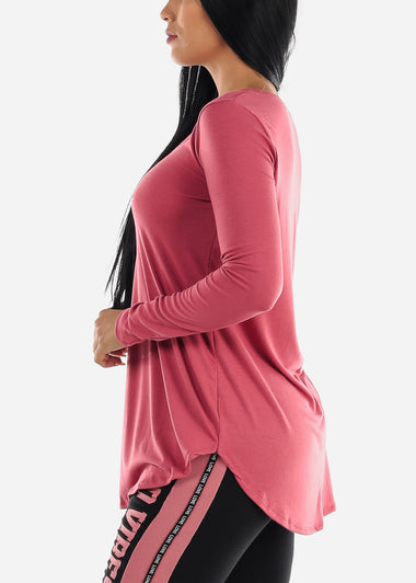 Pink V-Neck Casual Stretchy Top