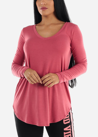 Image of Pink V-Neck Casual Stretchy Top
