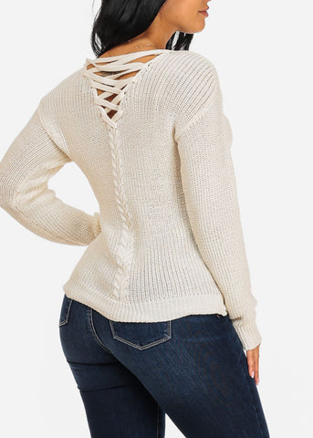 Basic Ivory Knitted Sweater Top