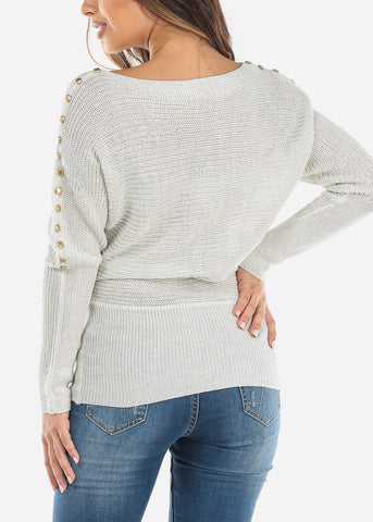 Gold Button Detail White Sweater