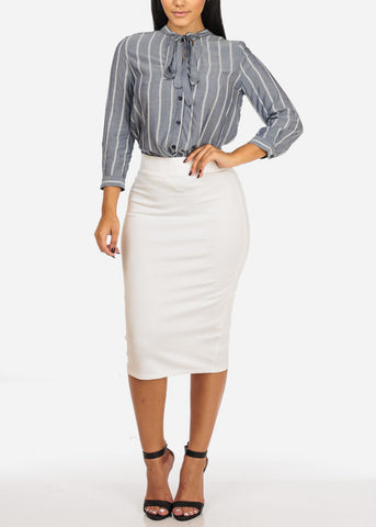 Button Up Stripe Top W Slit Sides