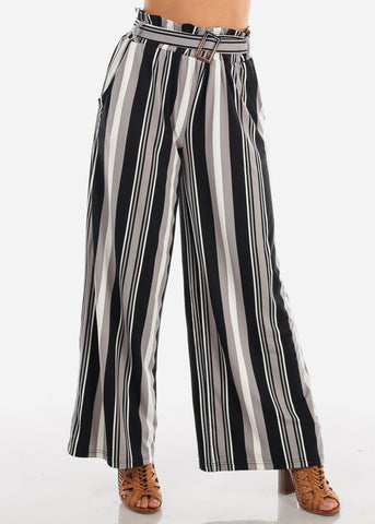 Image of Sexy Trendy Ultra High Waisted Black Stripe Multi Color Wide Legged Palazzo Pants For Women Ladies Junior On Sale Miami Style 2019 New Modaxpress