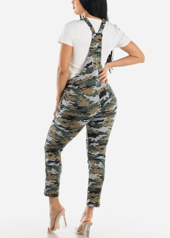 Image of Casual Sleeveless Camouflage Overall