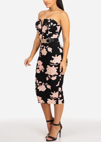 Elegant Black Floral Midi Dress