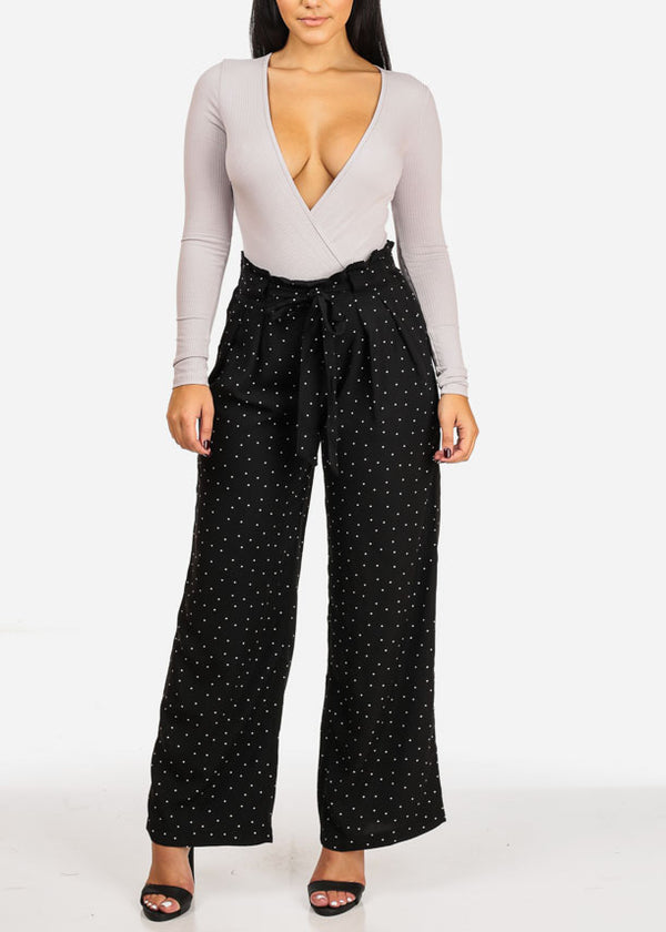 High Waist Polka Dot Black Pants