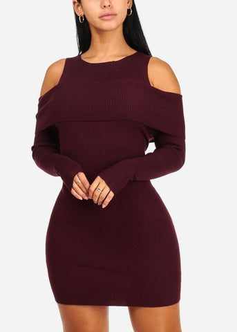 Cold Shoulder Wine Knitted Mini Dress