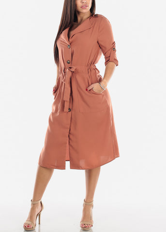 Image of Mauve Button Down Shirt Dress