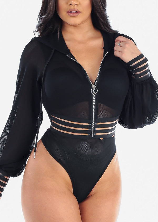 Sexy See Through Mesh Fishnet All Over Sexy Long Sleeve Elastic Detail Clubwear Night Out Sexy Stretchy Black Bodysuit