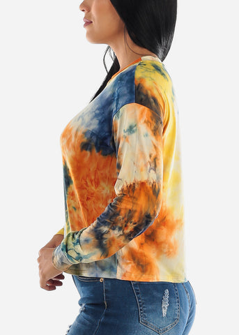 Image of Yellow Tie Dye Long Sleeve Top