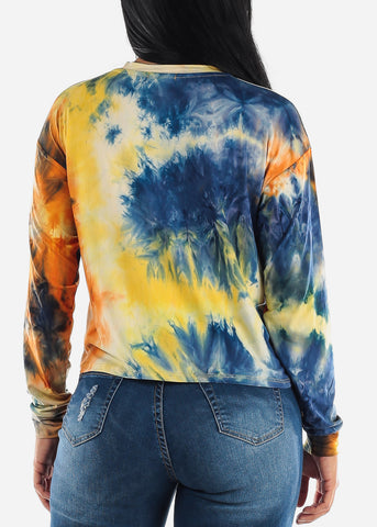 Yellow Tie Dye Long Sleeve Top