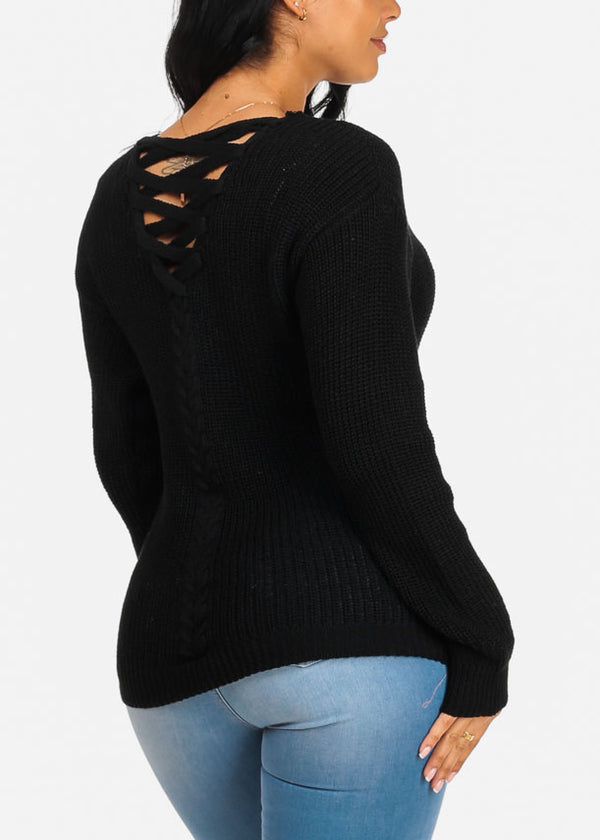 Basic Black Knitted Sweater Top