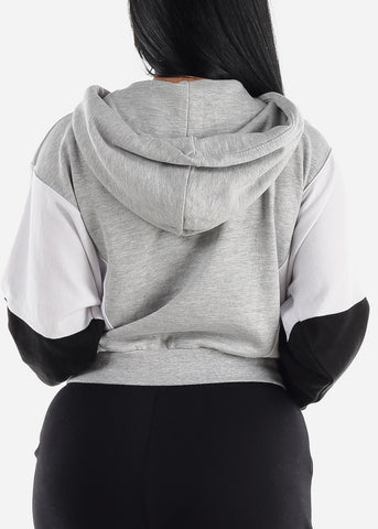 Grey & Black Colorblock Fleece Hoodie
