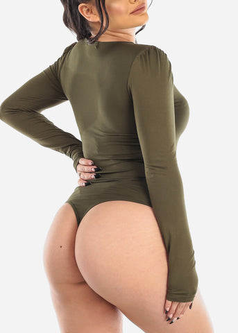 Image of Basic Long Sleeve Olive Bodysuit