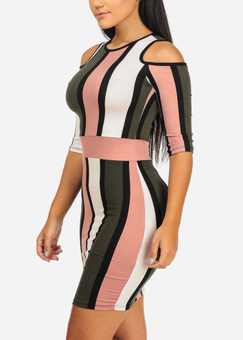 Image of Cold Shoulder Mauve Stripe Dress