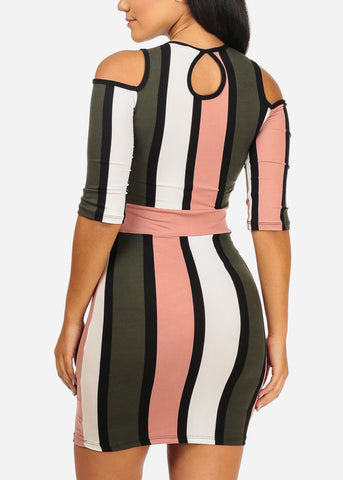 Cold Shoulder Mauve Stripe Dress