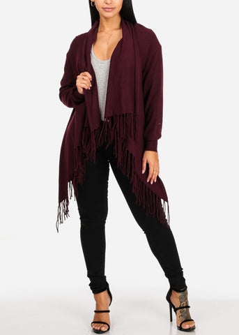Cozy Wrap Front  Burgundy Cardigan