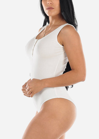 Sleeveless Ribbed White Bodysuit