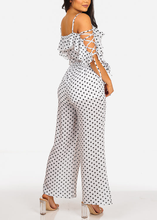 Sexy Lightweight White Polka Dot Jumpsuit
