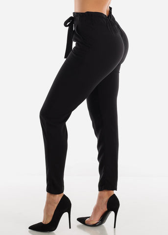 Image of Black High Rise Paperbag Pants