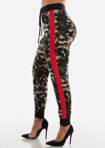 Red Stripe Camouflage Jogger Pants