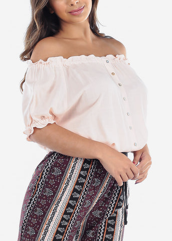 Women's Junior Ladies Casual Sexy Stylish Going Out Beach Vacation Lightweight Off Shoulder Elastic Waist Peach Top