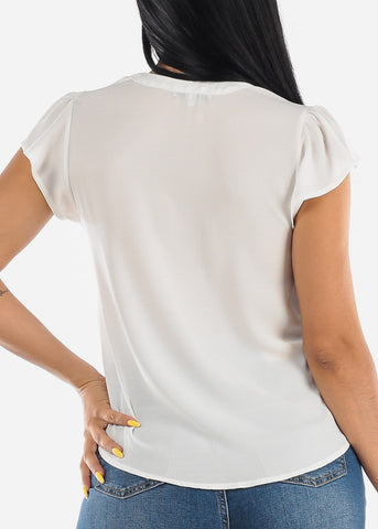 Image of Lightweight Short Sleeve White Blouse